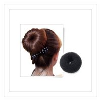 Wholesale Girls Hair Extension Clips - Women Girls Hair Clips Bun Black Donut Synthetic Scrunchie Hair Styling Bun Cover Bun Cage Wrap Maker Hairpiece Clip in Hair Extension Brid