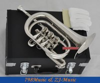 Wholesale Rotary Valves - wholesale Professional Silver Nickel Rotary Valve Cornet Trumpet New Bb Horn With Case