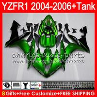 kit de carenado yzf r1 verde al por mayor-8Gift 23Color Cuerpo para YAMAHA YZF1000 YZFR1 04 05 06 YZF-R1000 58NO12 verde brillante YZF R 1 YZF 1000 YZF-R1 YZF R1 2004 2005 2006 kit de carenado