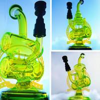 Wholesale Cheap Glass Bubbler Rig - black & pink green skull beaker rigs oil dab bubbler glass bong tobacco Percolator hookah Smoking Pipes tobacco Cheap Water Bong waterpipe