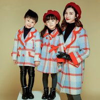 Wolle Kinder Winter Mäntel Kaufen -Familie Match Mantel Mutter Tochter Sohn Plaid Wolle Mäntel Kinder Winter Warme Jacken Outwear 2018 Familie Passenden Outfits Kleidung D159
