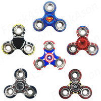 Wholesale Bat Superman - Avengers Fidget Spinner CE Mark Super Heroes Spinners Plastic Tri-spinner Superman Spiderman Bat Captain America EDC Fidget Spinners