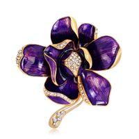 UK Colorful Flower Brooches For Women Long Dress Decorations Enamel Petal Rhinestone Golden Brooch Broche de Flor Para as Mulheres DHgate Mobile