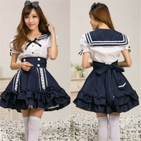 Wholesale College Halloween Costumes - Japan Princess Dress School Uniform The Sailor Dresses In The Sea Of The Navy College Style Lolita