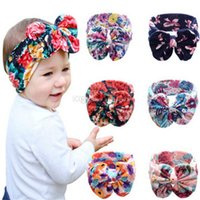 Wholesale big flower hair band girl resale online - New colors Baby Girls Stretch multicolor printing big Bow Headbands Infant Flower hair band cute kids Hair Accessories C1278