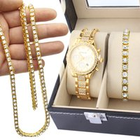 Wholesale Watch Hip Hop - 3Pcs Set Hip Hop Iced Out Simulated Diamond Watch & 1 Row Diamond Stone Chain Men Watch Necklace And Bracelet Combo Set