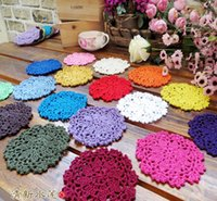 Wholesale Diy Cotton Flower - 10CM Hand Crochet Coasters for Cups DIY Lace Hollow Round Flower Shape Table Coaster Kitchen Home Decorate Props 0 5jy