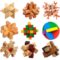Wholesale Intellectual Toys - Kong Ming Luban Lock Chinese Traditional Toy Unique 3D Wooden Puzzles Classical Intellectual Wooden Cube Educational Toy Set