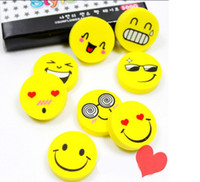 Wholesale pencils rubbers cartoon - Wholesale-4 Pieces Hot Sale New Lovely Cute Cartoon Eraser Rubber Korean Stationery Smile Novelty Kid Gifts Fantastic