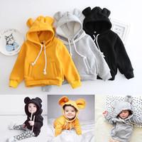 ayı hoodie çocuğu toptan satış-Çocuklar Ayı Kulak Hoodie Sonbahar Çocuk Uzun Kollu Bebek Kız Erkek Ceket Çocuklar Pamuk Üstleri Spor Casual Tees Kazak
