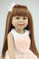 18 inç kız bebek toptan satış-Amerikan Kız Bebek Prenses Bebek 18 Inç / 45 cm, Yumuşak Plastik Bebek Bebek Oyuncak Çocuklar Için Oyuncaklar