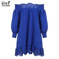 Wholesale Korean Night Fashion - Wholesale- 2016 Cute New Arrival Casual Style Fashion Korean Brand Dresses Blue Off The Shoulder Long Sleeve Peplum Hem Hollow Dress
