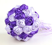 Wholesale Hand Made Bouquets - Hand Made Silk Bridal Bouquets High Quality Rose Shape Fashion Decoration Hand Flower Free Shipping Wedding Celebrity Accessories CPA819