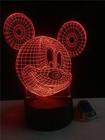 Wholesale Star Night Lamps - Hot Cartoon Mickey Mouse 3D Touch Led Night Light Colorful Hologram Atmosphere Lamps For Children Christmas