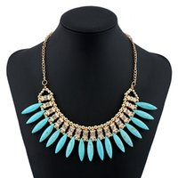 Wholesale brilliant solitaire - Muticolor Synthetic Gemstone Statement Necklaces 6 Colors Brilliant Women Summer Pendants Drop Shipping Gold Plated Rhinestone Choker