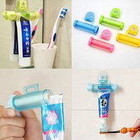 Wholesale Toothpastes Tube Holder - Wholesale- Cute Rolling Squeezer Toothpaste Dispenser Tube Partner Sucker Hanging Holder Christmas Gift 6LNK