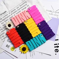 Wholesale Best Back Covers - For Iphone 7 PINK Stereo Case 3D Cartoon Letter Soft Silicon Gel Cases Shockproof Rubber Back Skin Cover for Iphone 6 6s 7 Plus 5 5s SE Best