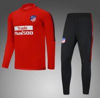 Wholesale New Men S Red Suit - 2018 new Atletico soccer tracksuit madrid torres survetement chandal top quality 17 18 training suit football sweatershirt and pants