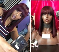 Wholesale 99j Wigs - 99j color straight bang Human Hair Wig Brazilian Remy Hair 99j Lace Wig with bang