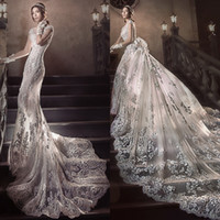 Wholesale Short Wedding Dress Long Tail - 2.5 Meters Long Tail Wedding Dress Gorgeous Fashion Detachable Train Beach Wedding Dress Luxury Crystal Beaded Applique Mermaid Wedding Gown