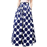 Wholesale polka dot swing - Womens Casual High Waist Party Cocktail Polka Dot Big Swing Maxi Skirts