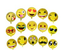 Wholesale Birthday 18 Party - Emoji Foil Helium Balloons Aluminum Balloons Party Decoration Inflatable Wedding Balloon Birthday Party Balloons Decorations KKA2065
