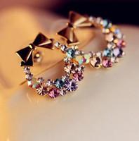 Wholesale Rhinestone Bow Earrings Jewelry - New Fashion Imitation Colorful Rhinestone Bow Earrings Vintage Jewelry G549