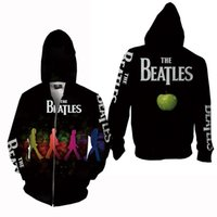 Wholesale Women Hoodies Zip Up Jacket - Outdoor Zip zipper up jacket hoodie for men women teen boys girls Couples lovers The Beatles 3D print jackets design winter slim plus size