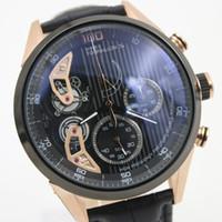 Wholesale Double Chronograph Watch Men - 2017 New Luxury Brand men Quartz chronograph Black Dial Limited Mikro Tourbillon Mens Double Zone5A51 Stopwatch Mens stainless steet Watches