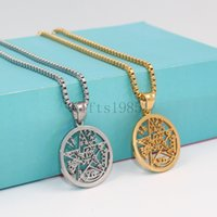 Wholesale Variety Gift Boxes - Wiccan Star Pentacle Contains a variety of totem symbols necklace pendant silver or golen box chain