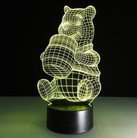 mel de natal venda por atacado-Criativo Presente de Natal 3D urso de mel em forma de lua noite luz LED 7 cores mudando de controle de toque acrílico crianças lâmpada de cabeceira