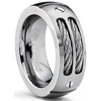 stainless steel screw venda por atacado-Banda de casamento anel de titânio dos homens de 8mm com cabos de aço inoxidável e parafuso tamanhos de design 6 a 15