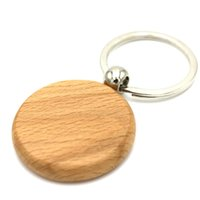 Wholesale Car Keys Blanks - 50X Wooden Key Chain Circle Blank Keychains Cheap Name Custom key ring FREE SHIPPING