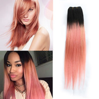 Wholesale Rose Hair Extensions - 300g Kiss Hair Ombre Human Hair Bundles Two Tone T 1B Pink Rose Gold Good Quality Colored Brazilian Peruvian Indian Straight Hair Extensions