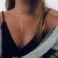 Wholesale Multilayer Statement - Women Chokers Sequins Necklaces New Arrival Long Chain Pendants Statement Multilayer Necklace For Women Nightclub Party Jewelry Wholesale