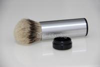 Wholesale Silvertip Badger Hair Shaving Brush - New Arrvial Stainless 100%Aluminium Silvertip Badger Hair Travel Shaving Brush Christmas Day Gift FREE SHIPPING