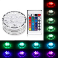 Barato Levou Luz Impermeável Piscina Submersível-RGB 10 Led Submersible Light Bateria IP68 Waterproof Underwater Swimming Pool Wedding Party Piscina Iluminação da lagoa