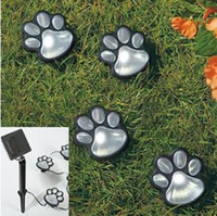 Wholesale Led Paw Print - 4pcs set Paw Print Lights LED Solar Lamp Decorative Garden Lighting Shines From Dusk To Dawn Garden Decorations Solar Light CCA7817 24set