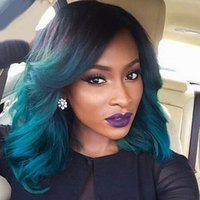 Wholesale Short Bob Wigs for Women Body Wave Synthetic Lace Front Wig Ombre Green with Natural Hairline for Party Cosplay Wig