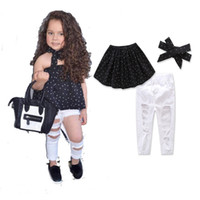 Wholesale Three Years Girls Clothes - Kids European Fashion Clothing Sets 2017 1-8 Years Old Girls Summer Dot Off Shoulder Top+Hole Pants+Headband 3pcs Sets