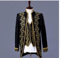 Wholesale European Clothing Men Jacket - men suits designs royal loading stage costumes for singers men blazer clothes jacket formal dress punk european white black