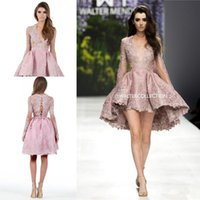 Wholesale Strapless Dress Plunging Neckline - Walter Collection Appliques Prom Gowns Plunging Neckline Long sleeves Lace Evening Homecoming Dresses High-low Lenth Prom Party Dress
