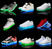 Wholesale 46 Led - mens led shoes light Flashing shoes USB Charge Unisex Fluorescent Hight top Running Snakers Sport Casual Shoes for adults Size 35- 46