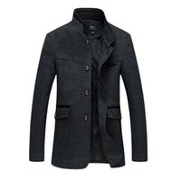 Wholesale High Quality Men S Trench - Wholesale- 2016 Fashion Winter Mens Jackets Wool Trench Coat Warm Woolen Coats High Quality Outerwear Men Parka Plus Size 8XL
