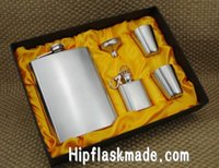 Wholesale Mini Flask Key Chains - 7 oz stainless steel hip flask+one 1 oz mini hip flask with key chain +4 cups +one funnel