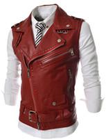 Wholesale Punk Rock Leather Jacket Men - Wholesale- Leather Motorcycle Vest Harley Mens Black Leather Vest Red Waistcoat Steampunk Rock Slim Fit Zipper Sleeveless Jacket XXL