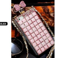 Wholesale Luxury Cell Phone Cases Diamonds - Luxury perfume Bottle Chain Rhinestore Cases For Iphone 4s 5s 6 6S cases Iphone 6 plus Diamond Colorful cell phone cases Free Shippig