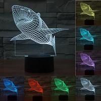 große weiße haie großhandel-Backen Weißer Hai 3D Illusion LED Nachtlicht 7 Bunte Tisch Schreibtischlampe für Kinder