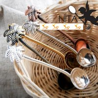 Atacado- Tropical COCO Design MINI Agitador Colher Classic Zinc Alloy Coffee Spoon Cute Tableware 12pcs / lot SH497