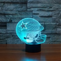 Wholesale Dallas Cowboys Lamp - 2017 New Design 3D Dallas Cowboys Rugby Helmet Night Light LED Colorful Remote Touch LED Bedside Lamp Gift
